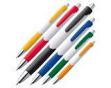 Bolígrafo plástico con cuerpo blanco y caucho en la zona de sujeción.